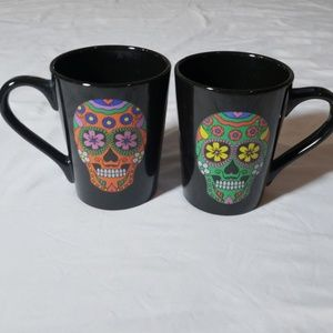 Other - Sugar skull day of the dead coffee mug cups pair